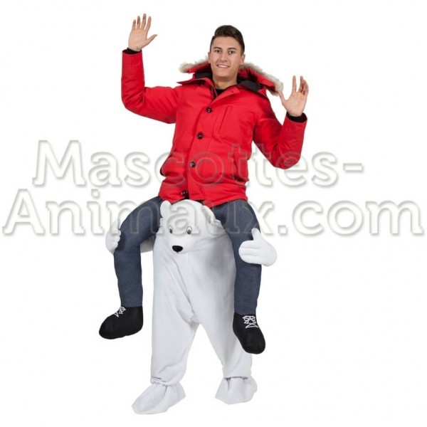 buy cheap polar bear riding mascot costume. Fancy polar bear riding mascot costume. Discount bear riding mascot.